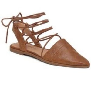 Lucky Brand Mackneill Lace-Up Leather Pointed Flat